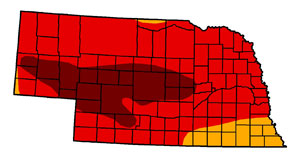 Nebraska drought as of August 14, 2012