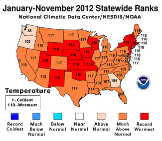 State rankings of annual average temperature