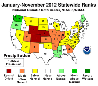State rankings for annual precipitation